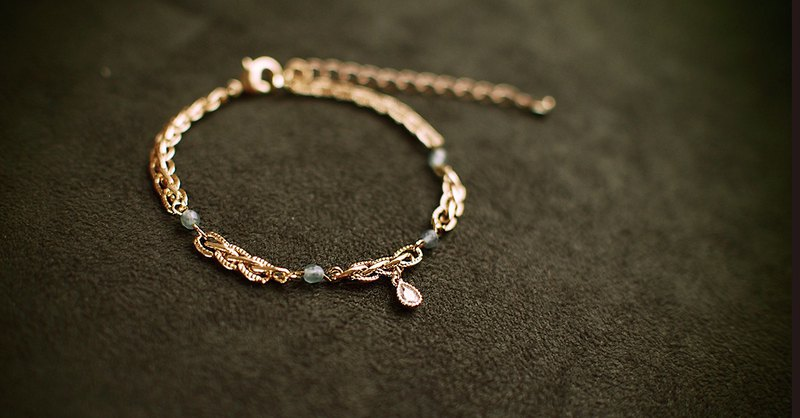 [Teardrop] Brass Zircon Brass Thick Gold Plated Bracelet (Including Extension Exercise)