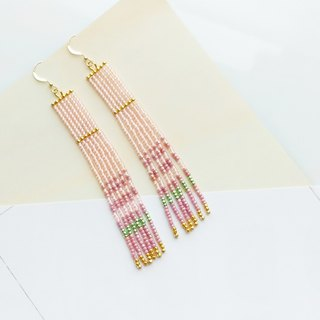 Blush-Pink - Long Beaded Tassel Earrings