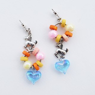 Rocking horse earrings with wooden beads and heart charm