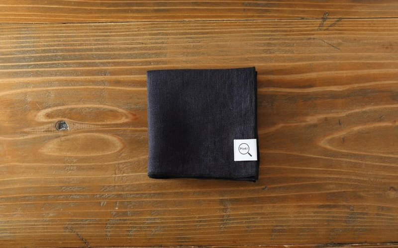 Plant dyeing organic linen handkerchief iron navy blue × black edge