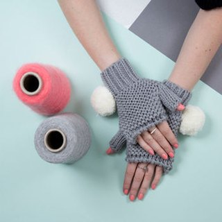 GREY UPER POM FINGERLESS GLOVES