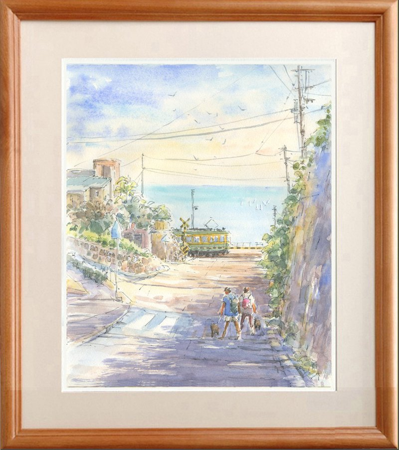Watercolor picture original picture Enoden / Kamakura High School Front rail crossing B