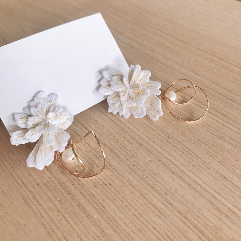 Flower Married Hand Embroidered Earrings