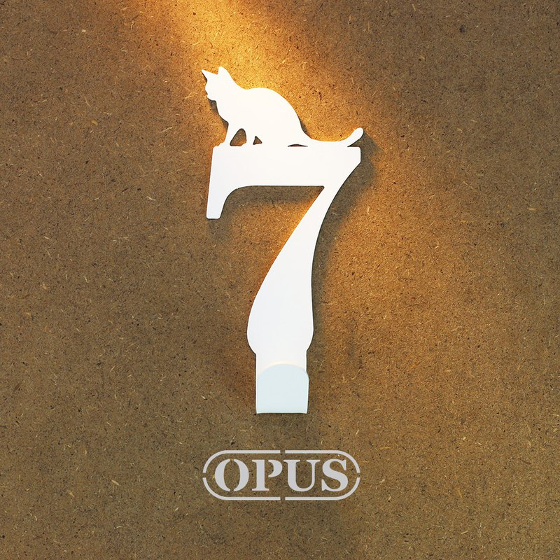 [OPUS Dongqi Metalworking] When the cat meets the number 7 - hook (white) / wall hanging hook / storage without trace