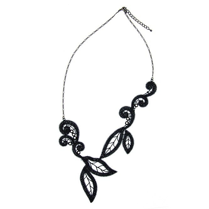 Black leaf vine embroidery necklace gift
