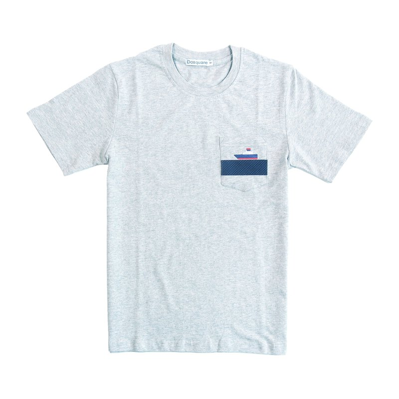Dosquare - Cotton Gray T-shirt with pocket (Ship)