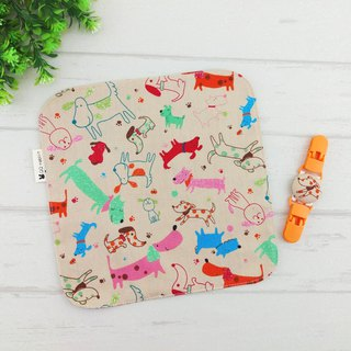 Orange puppy. Double-sided cotton handkerchief + handkerchief clip (can increase 40 embroidered name)