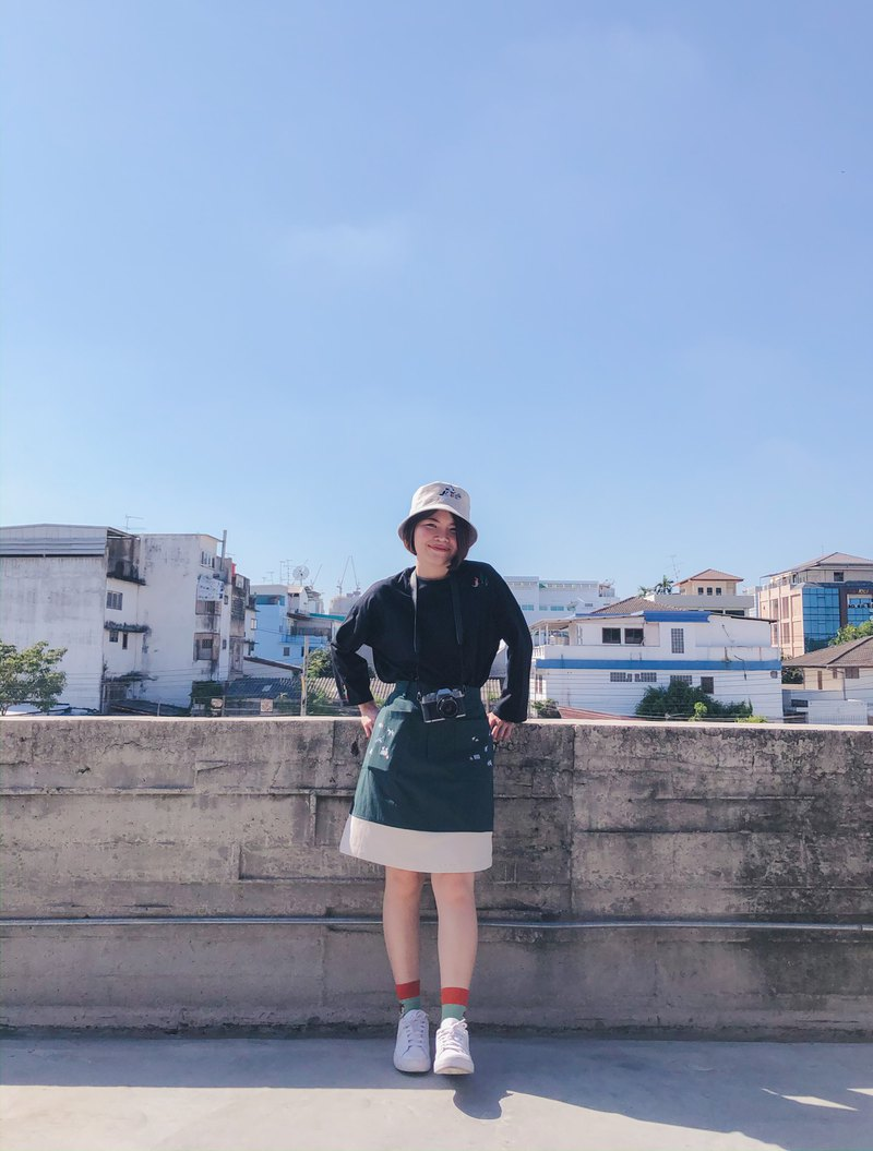 Mini A Skirt (Two-Tone serie) : Green x Cream