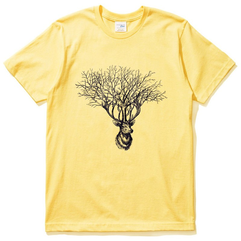 Deer Tree (spot) short-sleeved T-shirt yellow deer tree elk design Wenqing own brand animals
