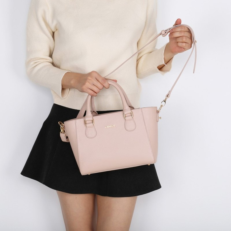 Durable Light Pink Color Pebble PU Synthetic Leather Ladies Handbag