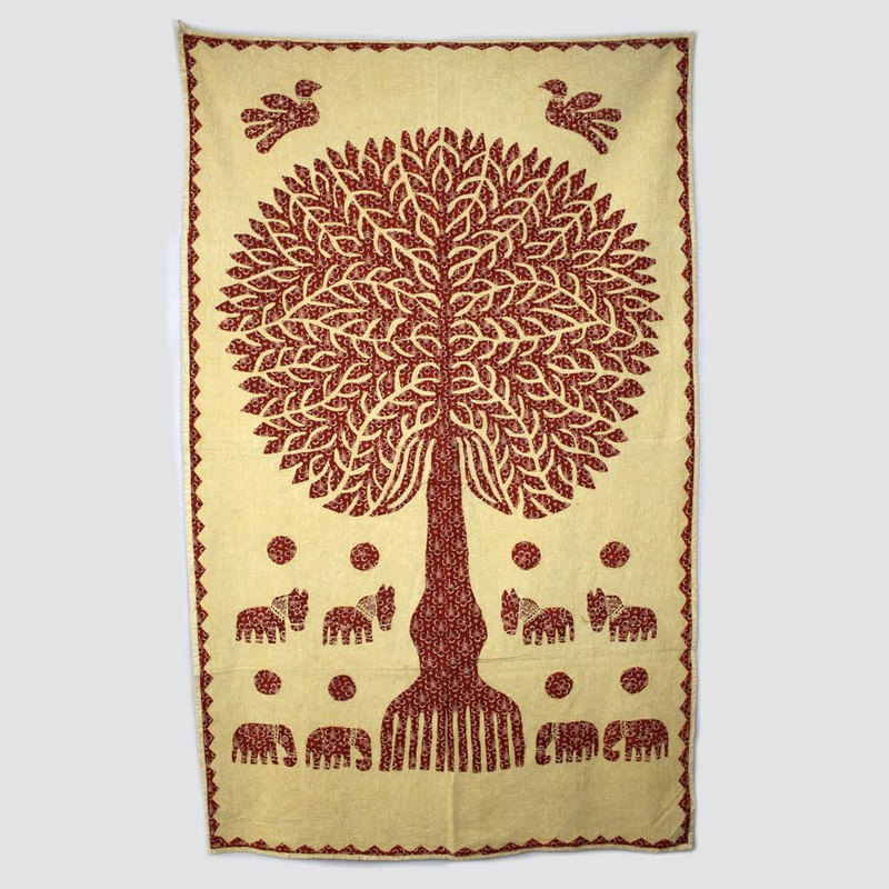 Tree of Life Hand-Sew Patchwork Wall Mount-Mustard A