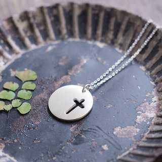 Coin Cross Mens Necklace Silver 925