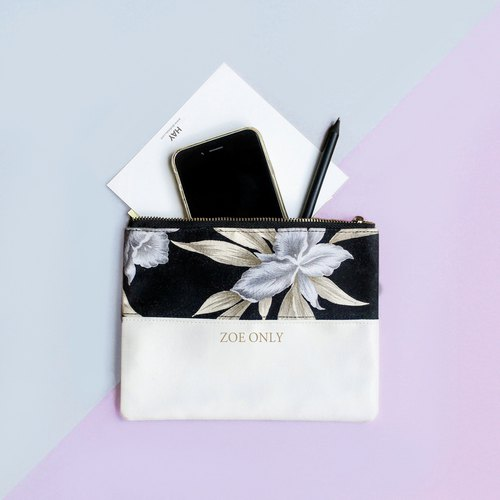 Personalise Floral fabric bag / Pencil pouch / Leather and Floral Clutch Bag /