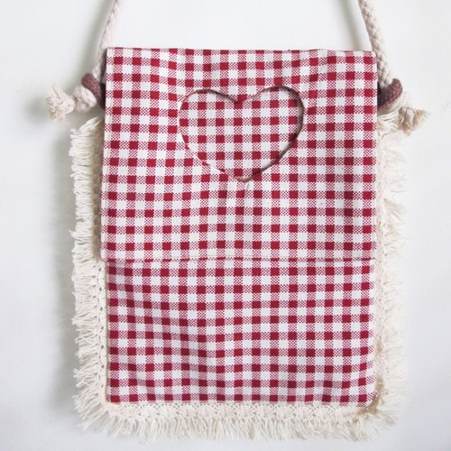 mint neiff-hand-made red plaid tassel rope backpack