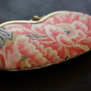 Porcupine glasses pouch / peony pill sentence silk belt / magenta pink
