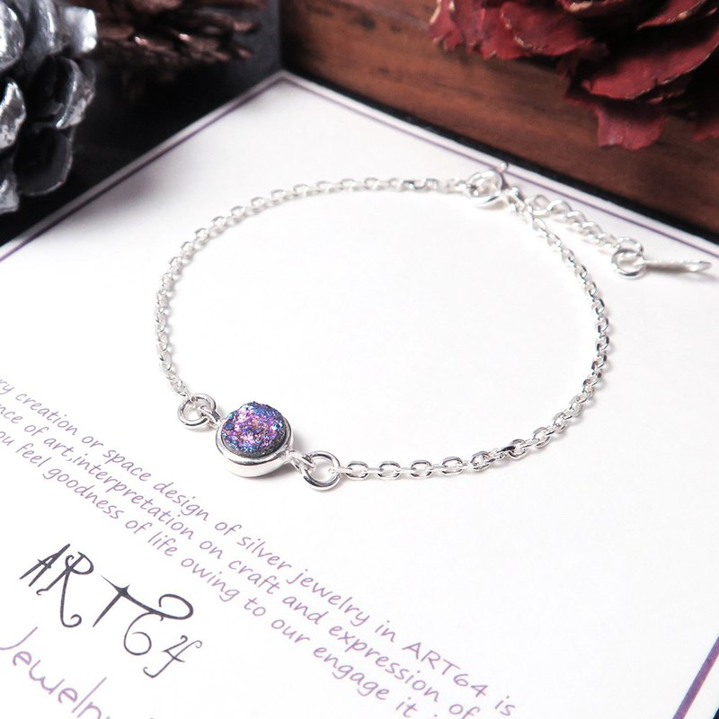 Long Secret Multicolored Purple Agate Ore 925 Sterling Silver Bracelet