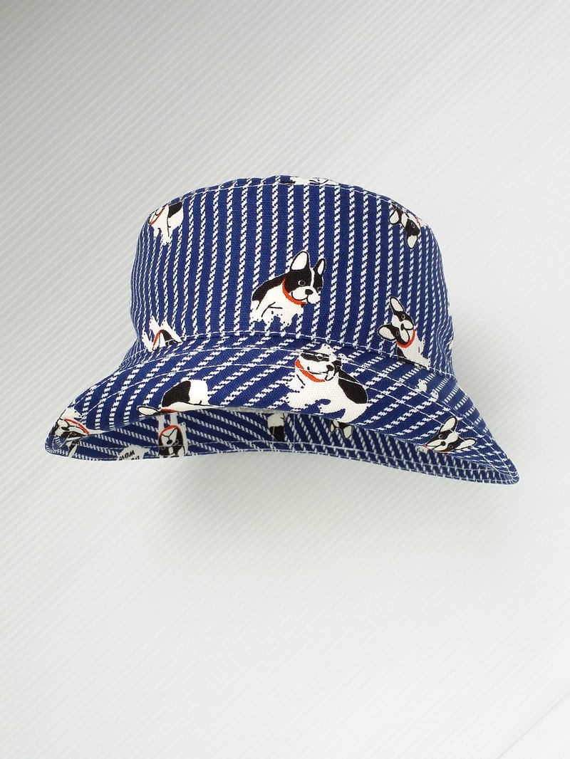 Blue striped bulldog infant fisherman hat