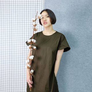 hikidashi petals sleeves shoulder dress. Army green