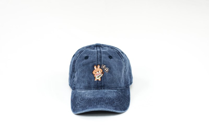 Haru Playing Ukulele / Embroidered Antique Wash Baseball Cap / Denim Blue