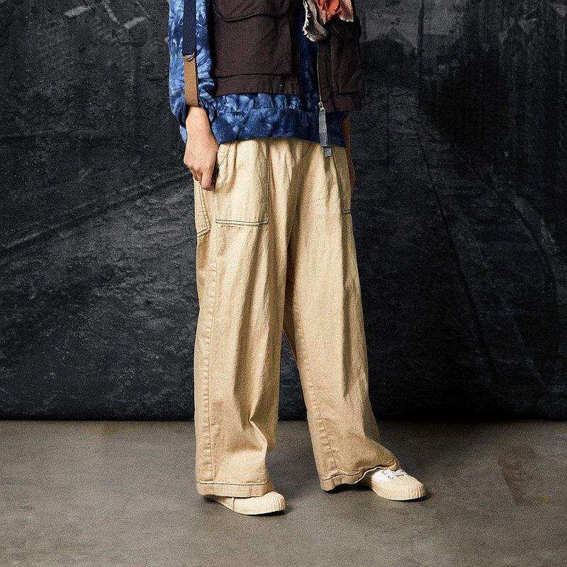 RE_沙喜鵲大口袋壓線及踝寬褲
