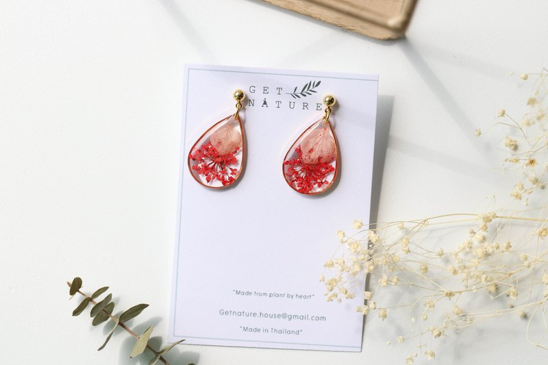 Hot red - Flower Earrings