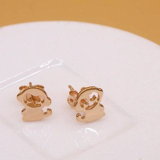 Handmade Little Monkey Earring - Pink gold plated on brass