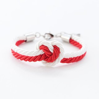 White / Red heart knot bracelet