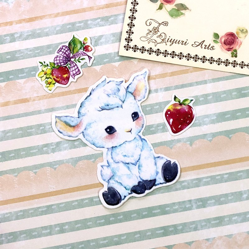 Little Animals Stickers - I Love Strawberry! Sheep