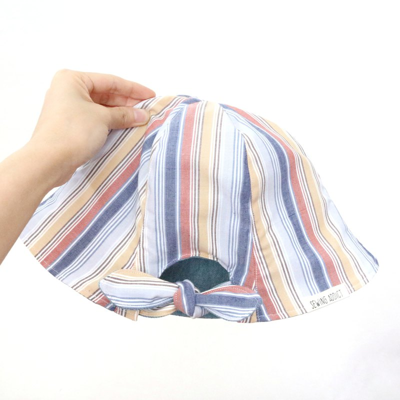 【Horsetail series】Red, yellow and blue striped handmade double-sided hat fisherman hat