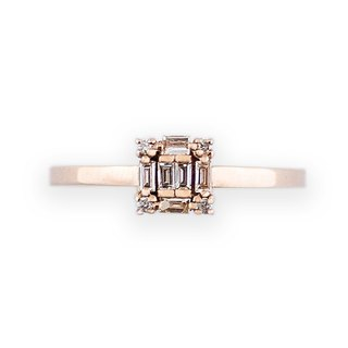 JewCas Carre series 10K gold diamond ring (Rose gold) _BJC7080d-R