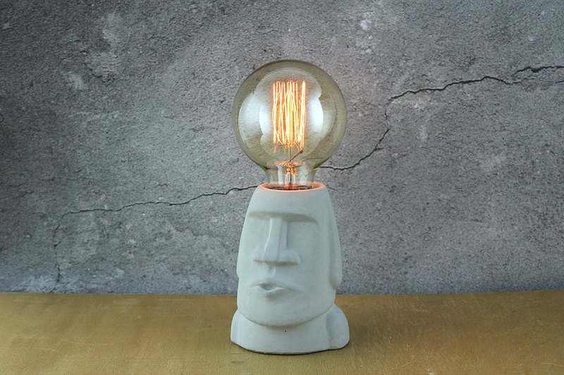 Cement Products - Emmanuel Moai - Moai Stone Statue - Cement Night Light - Dimming Light - With Bulb