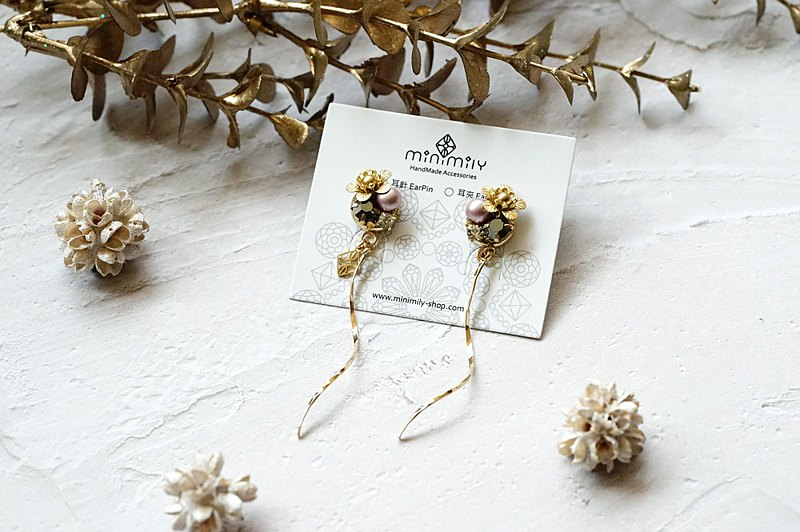 Sakura - 18K Spiral Hanging Earrings