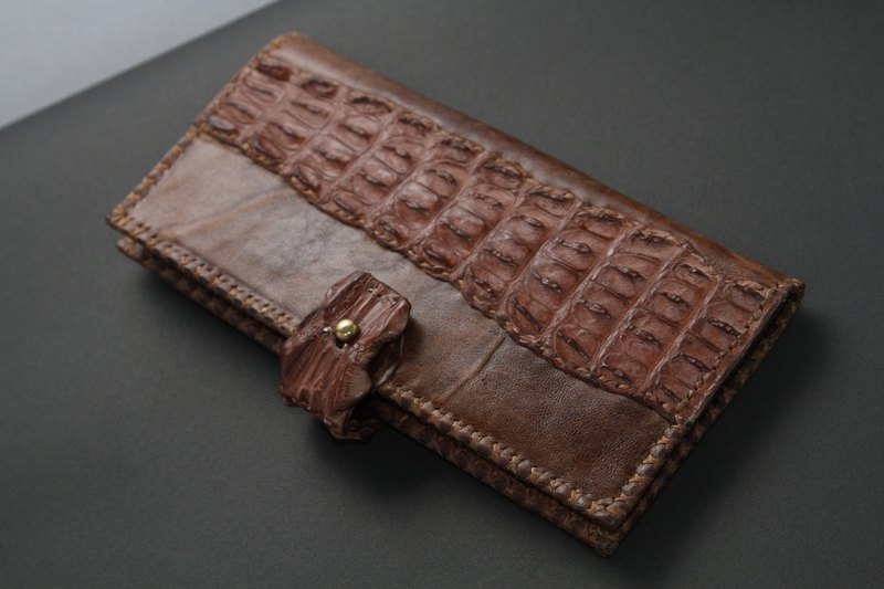 Genuine croc leather long wallet