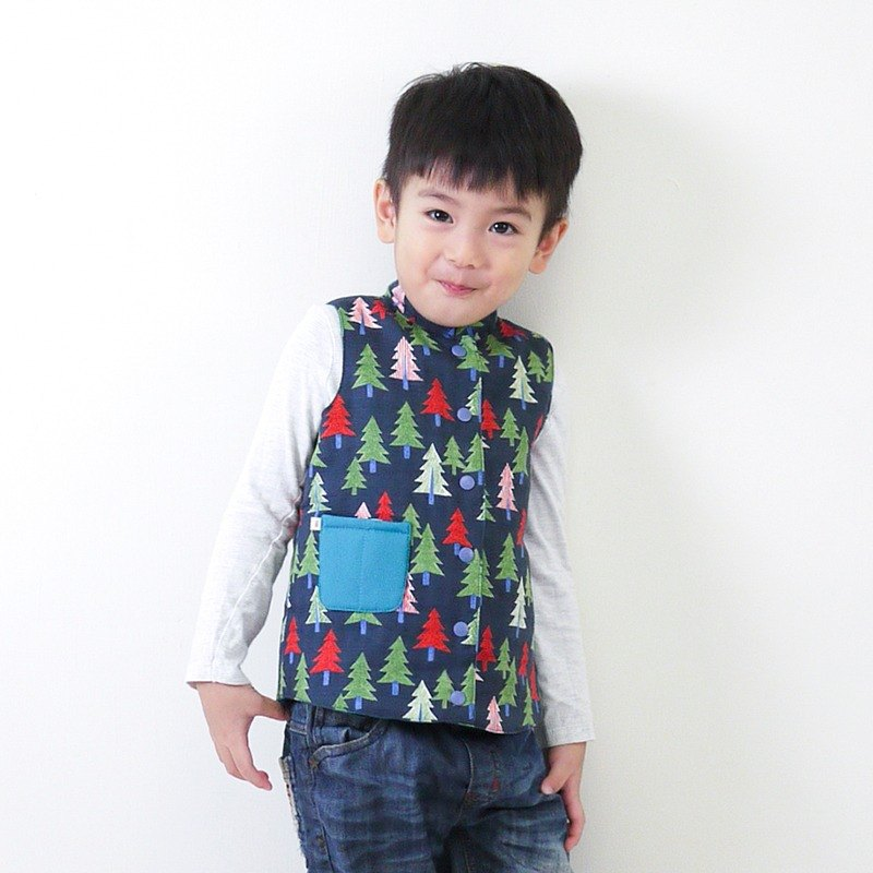 Small pine reversible cotton padded vest – Navy Blue & Pacific Blue - kids