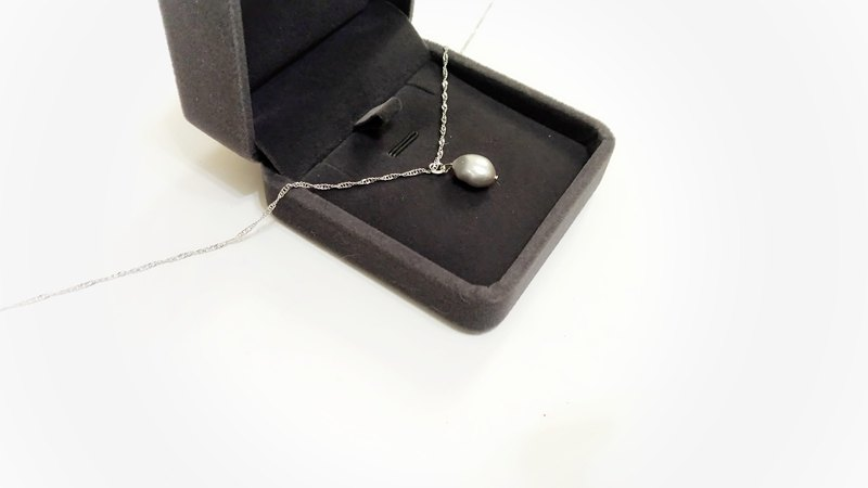 Snow falling sound - silver blue natural freshwater pearl clavicle necklace simple nude free packaging
