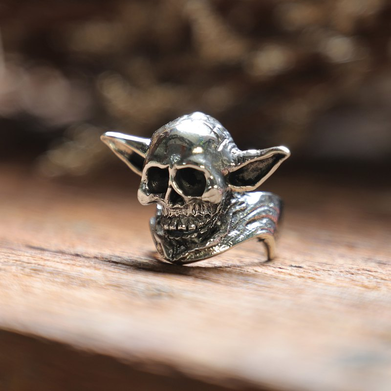 elf skull ring men sterling silver 925 biker viking gothic gothic memento mori