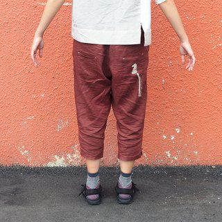 Mavericks village original clothing breathable linen cropped pants trousers pants feet pants simple wild horse embroidery [chess - Knight] rust red [J-30] limited edition