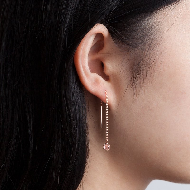 Pink crystal small disc dangle earrings | natural stone | 925 sterling silver. Rose gold. Light jewelry. Ear chain