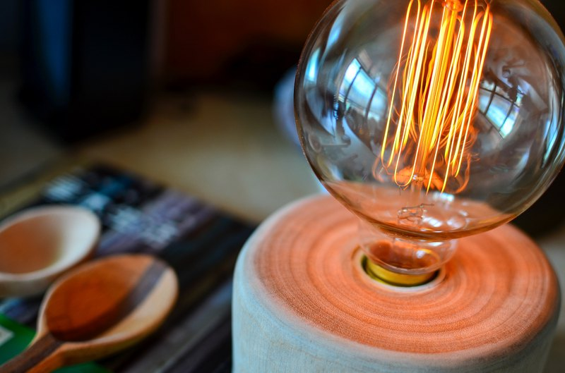 Concentric Circles--(Handmade with Edison Light Bulb & Lamp Holder & Dimmable)