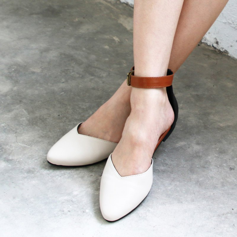 Color matching ankle strap with leather slipper / beige / handmade / S2-19305L