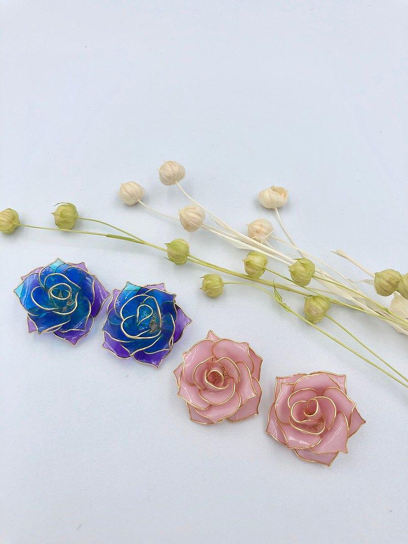 【玫瑰園系列-單色/雙色】樹脂耳環 蒔花 Blossom Time