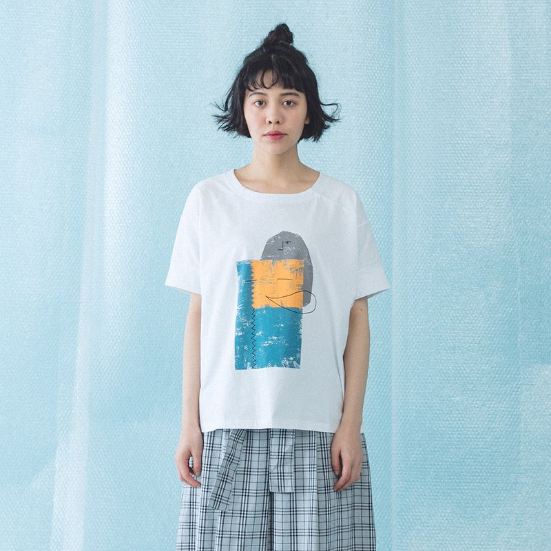 [E-WEAR Internet Exclusively Sold] Sleeping worm friend print cotton T - four colors