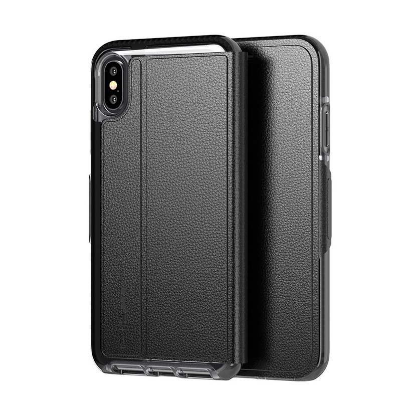 British Tech 21 anti-collision soft protection leather case - iPhone Xs Max-Black (5056234705797)