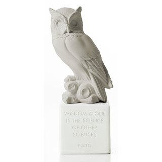 Ancient Greek Owl Ornament Sophia Owl (Cold Grey) - Handmade Ceramic Statue