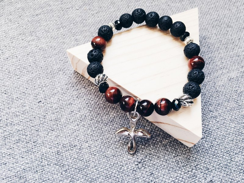 Angel Red Tiger Eye/Volcanic Rock Bracelet