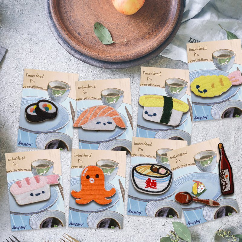 9 Japanese Food / Sushi / Snacks--Handmade Embroidered Brooches, Pins Valentine's Day Gifts