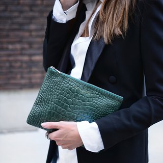 ANTI-HEROINE Clutch_Teal Croc Emboss / Green Crocodile Embossed