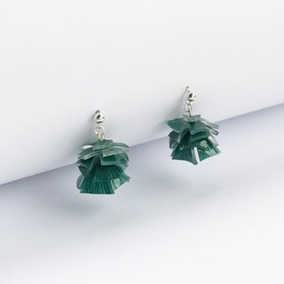 Chrome green level sterling silver earrings