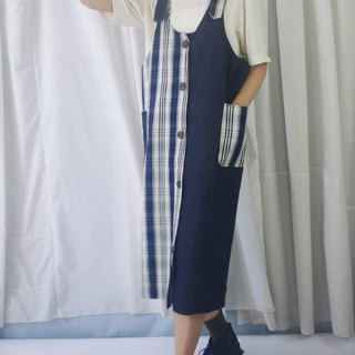 Design hand made - denim check stitching dress
