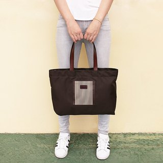 LAPELI │ large capacity leather leather handle nylon bag (coffee stripes)